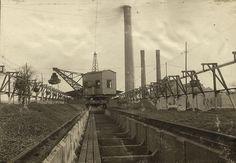 #Linbana för koltransport 1910 Värtaverket. #CableCar for the transport of coal at Värtaverket in Stockholm in 1910.
