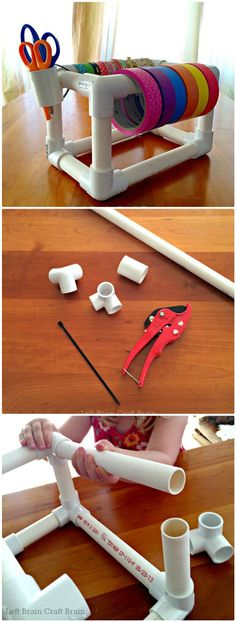 Cool PVC Pipe Tape Dispenser - 48 DIY Projects out of PVC Pipe You Should Make - DIY & Crafts Pvc Pipe Crafts, Pvc Pipe Projects, Craft Projects, Wood Projects, Diy Pipe, House Projects, Project Ideas, Craft Organization, Craft Storage