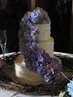 Fresh hydrangea swag on wedding cake