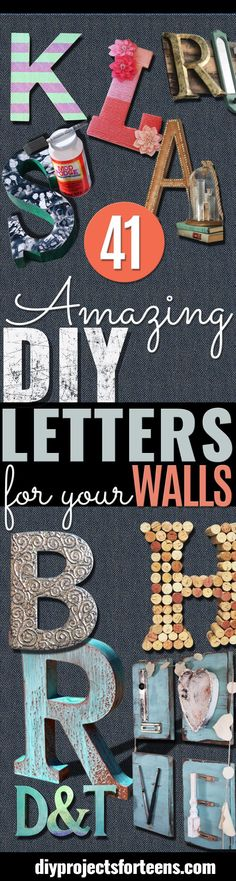 DIY Wall Letters and Initals Wall Art - Cool Architectural Letter Projects for Living Room Decor, Bedroom Ideas. Girl or Boy Nursery. Paint, Glitter, String Art, Easy Cardboard and Rustic Wooden Ideas (Wooden Diy Projects) Cute Crafts, Creative Crafts, Crafts To Make, Jar Crafts, Cool Diy, Easy Diy, Dyi, Diy Wand, Diy Letters
