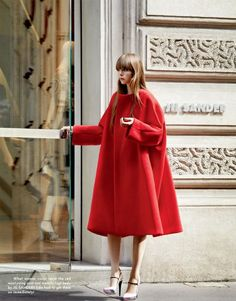 Edie Campbell wears a fabulous Jil Sander coat + heels in this editorial featured in the fall/winter 2012-2013 issue of The Gentlewoman. Photographed by Daniel Riera.