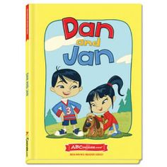 Dan and Jan - Hardcover book from ABCmouse.com. 4 years & up, 32 pages.  Meet Dan and Jan, two friends who love to run, jump, and even dance together, in the ABCmouse.com title Dan and Jan. Through a charming story, Dan and Jan will help young readers learn words in the –an word family. This hardcover book features charming full-color illustrations to support comprehension and contains several important sight words such as all, so, and sees.