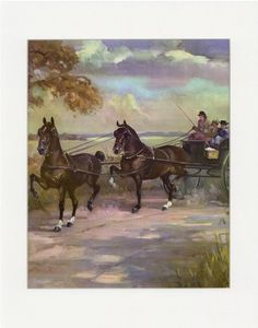 Vintage Hackney Carriage Horse Illustration from 1951 Album of Horses by thinaircreations on Etsy