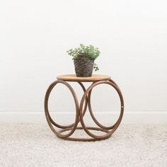 Rattan 1970's Wicker Caned Stool or Table | Bohemian, Free People | Birch & Brass Vintage Rentals | Weddings and Corporate Events | Austin, Texas