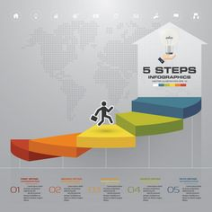5 steps staircase infographic element for presentation. Photo Texture, Abstract Photos, Photo Backgrounds, Time Management, Photo Art, Vector Free, Presentation, Arts And Crafts, Vector Background