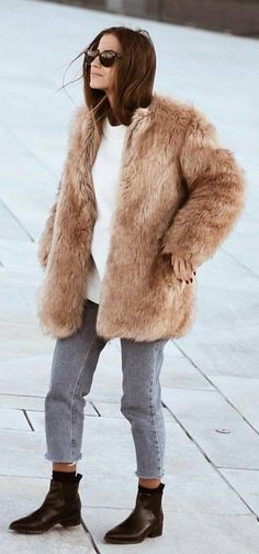 #winter #fashion /  Camel Faux Fur Coat + Grey Jeans