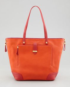 Tory Burch Pink Clay Small Colorblock Tote Bag