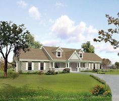 Cape Cod Country Ranch Southern Traditional House Plan 95806