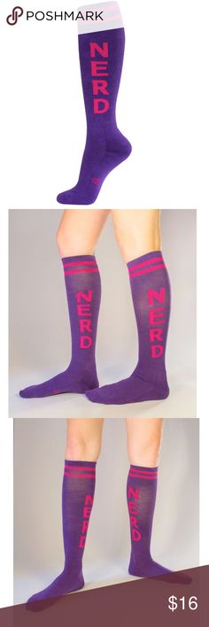 001ad1f2476 Purple and Hot Pink Nerd Athletic Knee High Socks Brand new item! There s  only one