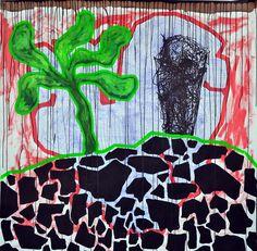 Theodor Grigoras - Tropics, acrilyc and pen on paper 150 x 150 cm, 2014
