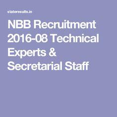 NBB Recruitment 2016-08 Technical Experts & Secretarial Staff