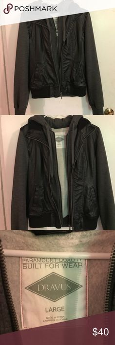 Dravus Jacket Size L Dravus Jacket Purchased From Zumiez. This Super Cute Jacket Is Faux Leather With The Attached Grey Hoodie Style. It Looks Really Cute On Unfortunately It Is Too Small For Me Dravus Jackets & Coats