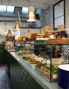Attendant: Coffee & brunch destination on Great Eastern Street, Shoreditch Deli Shop, Deli Cafe, Cafe Bistro, Cafe Shop, Cafe Restaurant, Restaurant Design, Modern Restaurant, Cafe Bar, Coffee Shop Counter
