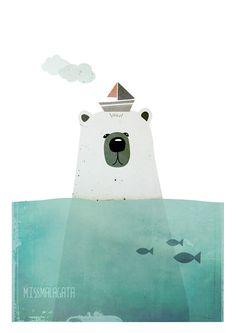 DinA4 - Lamina Oso polar - ilustración digita, Arte, Ilustración