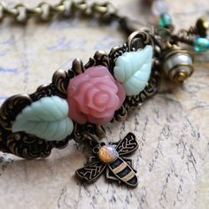 July Challenge from B'sue Boutiques by Renee Hong: Garden Bee Bracelet Pink Rose Bracelet Pink by JewelryFineAndDandy