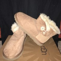 Brown Mini Bailey Buttons UGGs Boots Worn a few times great condition UGG Shoes Ankle Boots & Booties
