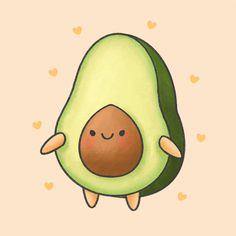 This is a cute avocado Cute Food Drawings, Cute Little Drawings, Cute Cartoon Drawings, Cute Animal Drawings, Kawaii Drawings, Food Drawing Easy, Gifs Kawaii, Griffonnages Kawaii, Cute Disney Wallpaper