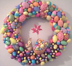 FABULOUS EASTER WREATH - EGGS...BUNNY & BASKET AND A PINWHEEL from hewlettnecker on ebay.com