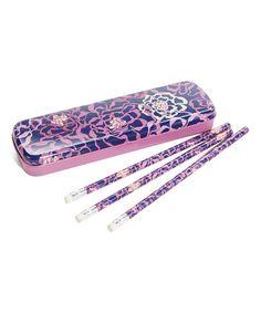 Look at this #zulilyfind! Katalina Pink Pencil Tin Set #zulilyfinds