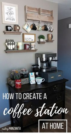 How to Create a DIY Coffee Station at Home – Making Manzanita If coffee is your life blood, it deserves a special spot in your kitchen. Here's how to create a DIY coffee station at home. Coffee Bar Station, Tea Station, Home Coffee Stations, Kitchen Corner, Diy Kitchen, Kitchen Decor, Kitchen Gadgets, Kitchen Island, Kitchen Ideas