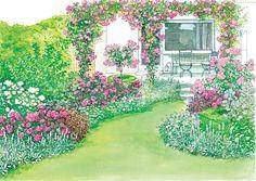 Rosengarten mit Pergola
