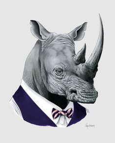 Rhino art print Rhinoceros Modern kid art by berkleyillustration