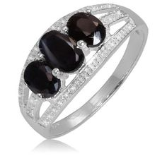 $9.99 - 1.2 Carat Black Sapphire Diamond Accent Sterling Silver 3-Stone Ring