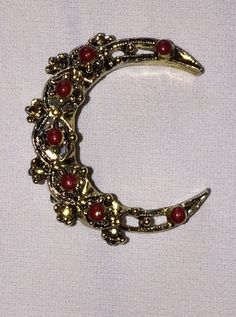 Vintage Half Moon Tone Gold Beaded Collectible Brooch Gift