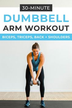 Strength train your way to strong sculpted arms with this DUMBBELL ARM WORKOUT Biceps triceps chest back shoulders its a total upper body workout Home Workout Videos, At Home Workouts, Body Workouts, Dumbbell Arm Workout, Workout Circuit, Workout Plans, Kettlebell, Workout Gear, Biceps And Triceps