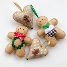 Felt Gingerbread Man Ornament - Wreath The Effective Pictures We Offer You About Diy Felt Ornaments Gingerbread Man Decorations, Gingerbread Man Crafts, Gingerbread Ornaments, Felt Christmas Decorations, Felt Christmas Ornaments, Christmas Gingerbread, Christmas Sewing, Christmas Embroidery, Handmade Christmas