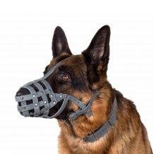 German Shepherd Dog Muzzle Secure Genuine Leather Basket Gray
