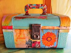 Upcycled Vintage Train Case Recycled Luggage Decoupaged Home Decor Accessory
