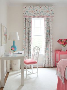 pink and turquoise girl's bedroom - kerry hanson designI must say I love the feather stitch border on this drape.