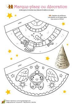 Coloriage et activités Noël tendresse, marque-place anges - Hugolescargot.com