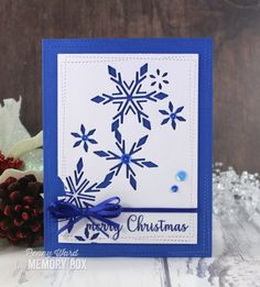 Inspiration for using Memory Box papers, stamps, dies, and stencils in your papercrafting and cardmaking projects! Christmas Snowflakes, Blue Christmas, Christmas Tag, Winter Christmas, Holiday, Memories Box, Kunst Shop, Star Cards, Scrapbook Cards