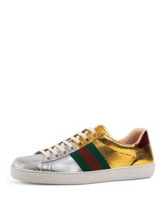 New+Ace+Snakeskin+Low-Top+Sneaker,+Gold/Silver+by+Gucci+at+Neiman+Marcus.