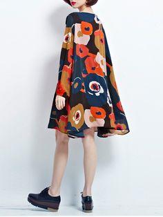 Gracila Women Chiffon Color Print Long Sleeve Loose Tops Mini Dress at Banggood
