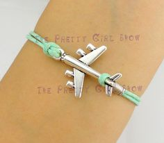 Airplane charm Bracelet in Silver - Wax Cords & Korean Cashmere - Choose Your Favourite Color - Customize Your Own Style-friendship gift