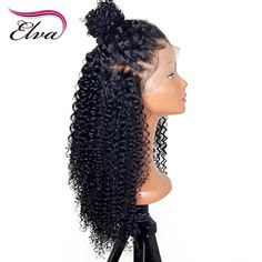 180% Density Curly 360 Lace Frontal Wig With Baby Hair Pre Plucked Hairline Curly Wigs For Women Brazilian Remy Hair Elva Hair