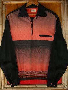 ★1950年代のCAMPUS社、黒Xピンクグラデーションボーダーコーデュロイパネルプルオーバーリブシャツ。★サイズ表記ML 16-16 1/2。★実寸肩幅46cm、身幅(脇下〜脇下付根)59m、袖丈、…