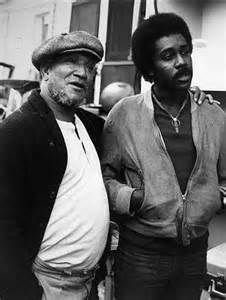 """Redd Foxx (Fred G. Sanford - the """"G"""" stands for. oh, never mind) and Demond Wilson (Lamont Sanford) speak with an unseen figure during rehearsal for the classic sitcom, Sanford and Son. Redd Foxx, Sanford And Son, Comedy Tv Shows, Black Comics, People Of Interest, Best Black, Having A Crush, Classic Tv, Entertainment"""