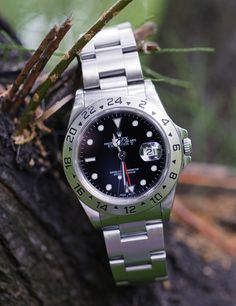 Currently my favorite watch to wear. I will be considering a change from the black face to the white face solely for the summer time next year. That would be due to a majority of my outfits containing something white. (Rolex Explorer II)