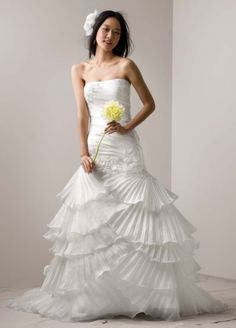 Organza Gown with Pleated Tier Skirt and Lace  AI26030040