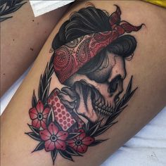 Skull Pinup Tattoo - Unknown Artist