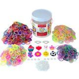 """Over The Rainbow Loom Bands 1260 Piece Deluxe """"Friendship"""" Kit, 2 High Quality Metal Heart Charms with Imitation Gems and 8 Fun Silicone Charms, 600 Solid Color Bands, 300 Glitter, 200 Glow in the Dark, 100 Tie-dye (Refill Set Has a Total"""