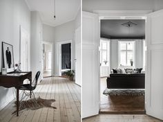 on the left | the feeling is white on white but still contrast w/ceiling & millwork