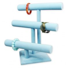 """Deluxe Velvet T-Bar Display, 12""""L x 12 3/4""""H, Blue or Pink www.nilecorp.com"""