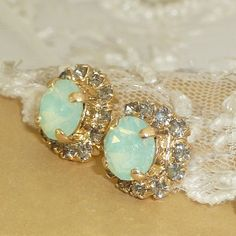 Mint Opal Crystal Stud Earrings Bridesmaids Gift by VintageRoz, $28.00 #mint #jewlery #opal