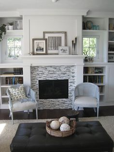 Joe - we like the built ins around this fireplace and how you can still access the windows. For the lower shelves below the windows we'd prefer doors over them to hide the stuff. Built In Shelves Living Room, Living Room With Fireplace, My Living Room, Home And Living, Room Shelves, Storage Shelves, Small Living, Living Spaces, Built In Around Fireplace