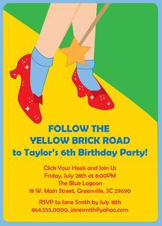 Wizard of Oz, Dorothy, Ruby Slippers Birthday Invitation, Printable DIY Digital File
